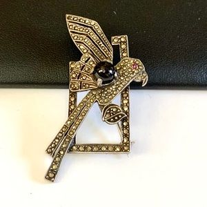 Vtg Estate Art Deco Marcasite Sterling Bird Brooch